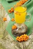 Hot fruit sea-buckthorn drink Stock Images