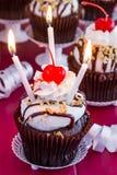 Hot Fudge Sundae Cupcakes Stock Photo