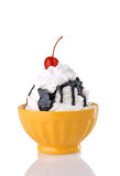 Hot Fudge Sundae With Whipped Cream And Cherry Royalty Free Stock Images