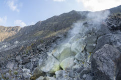 Hot fumarole in active volcano Stock Photo