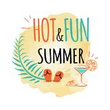 Hot and Fun Summer Icon Isolated Vector on White. Hot and fun summer icon cartoon style logotype. Isolated vector illustration of refreshing beverage with orange Stock Photo