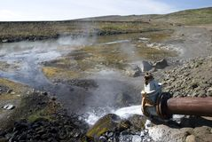 Hot geothermal water. On Iceland Stock Photo