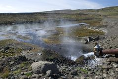 Hot geothermal water. On Iceland Royalty Free Stock Images