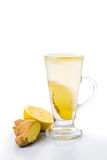 Hot ginger lemon tea in cup transparent glass Stock Images