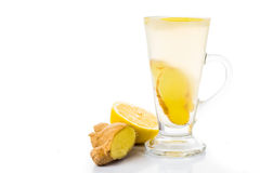 Hot ginger lemon tea in cup transparent glass Royalty Free Stock Image