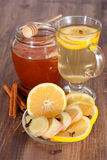 Hot ginger lemon tea Stock Images