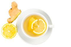 Hot ginger tea with lemon in a cup Royalty Free Stock Photos