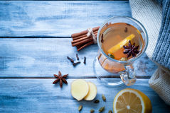 Hot ginger tea with spices Stock Images