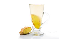 Hot ginger tea in tall glass Stock Image