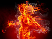 Hot girl. Fire girl on black background Royalty Free Stock Images