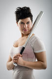 Hot girl with aluminum bat Stock Images