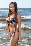 Hot girl on the beach royalty free stock photo