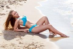 Hot girl on the beach Royalty Free Stock Photos