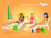 Hot girl on a beach. Vector illustration Royalty Free Stock Photo