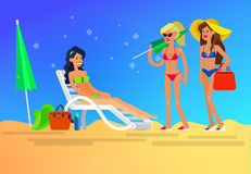 Hot girl on a beach. Vector illustration Stock Image