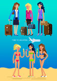 Hot girl on a beach. Vector illustration. Vector detailed character Business female friends go on vacation with bag and suitcase. Hot beautiful girl in bikini on Stock Photos