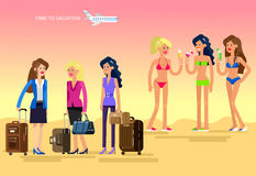 Hot girl on a beach. Vector illustration. Vector detailed character Business female friends go on vacation with bag and suitcase. Hot beautiful girl in bikini on Royalty Free Stock Photo