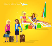 Hot girl on a beach. Vector illustration. Vector detailed character Business female friends go on vacation with bag and suitcase. Hot beautiful girl in bikini on Stock Images
