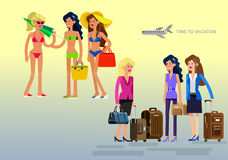 Hot girl on a beach. Vector illustration. Vector detailed character Business girlfriends go on summer vacation with bag and suitcase. Hot beautiful girl in Stock Images