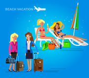 Hot girl on a beach. Vector illustration. Vector detailed character girlfriends go on vacation with bag and suitcase. Hot beautiful girl in bikini on a beach Royalty Free Stock Images
