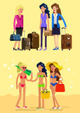 Hot girl on a beach. Vector illustration Stock Images