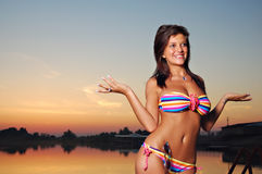 Hot girl in bikini on sunset Royalty Free Stock Photo