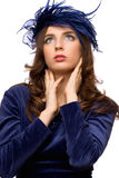 Hot girl in blue bonnet Royalty Free Stock Image
