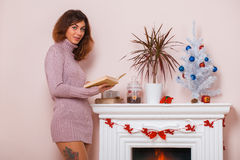 Hot girl at home in Christmas time Royalty Free Stock Image
