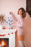 Hot girl at home in Christmas time Royalty Free Stock Photo