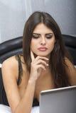Hot Girl on Laptop Stock Image