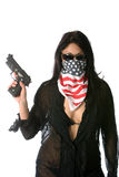 Hot Girls With Guns Concepts. Dangerous girl with a gun and laser site girl with gun concepts Stock Photography