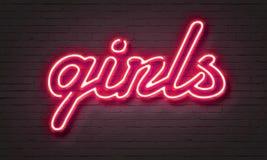 Hot girls neon sign. On brick wall background stock illustration