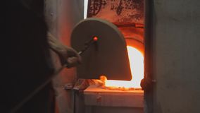 Hot glass oven. Special industry fire furnace for melting glass for further designing in to different shape