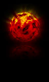 Hot Globe in flames. Burning red planet, sun, reflecting on black background Royalty Free Stock Photo