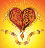 Hot Glowing Heart. Illustration of a shiny golden hot glowing heart with plasma inside of its inner tribal shape, as well as banners / scrolls Stock Photos