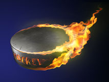 Hot goal, burning puck Royalty Free Stock Photos