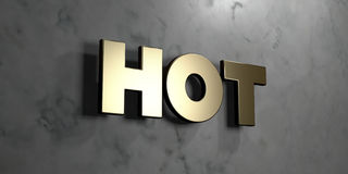 Hot - Gold sign mounted on glossy marble wall  - 3D rendered royalty free stock illustration Royalty Free Stock Images