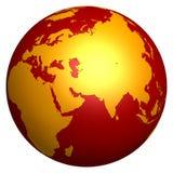 Hot golden globe. 3d hot golden globe isolated on white background Stock Image