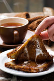 Hot and gooey chocolate toast sandwich. Selective focus Stock Image