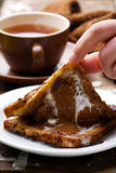 Hot and gooey chocolate toast sandwich. Selective focus Royalty Free Stock Photo
