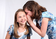 Hot Gossip. 2 young girls telling secrets Royalty Free Stock Photo