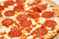 Hot Greasy Pepperoni on a Pizza Royalty Free Stock Photo