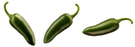 Hot green chili or chilli pepper isolated Stock Photo