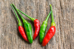 Hot green and red chili or green and red chili pepper Royalty Free Stock Photography