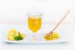 Hot green tea with lemon and honey. Hot green tea served with lemon and honey on white plate Stock Image