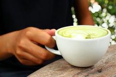 Hot green tea and milk Stock Photos