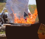 Hot Grill. Grilling on the BBQ with Fire Stock Photography
