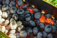 Hot grill coal Royalty Free Stock Photography