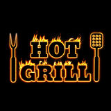 Hot grill fire text illustration for bbq shop Stock Photography