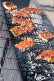 Hot grill ribs barbeque on lattice Stock Photography